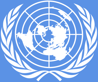 Logo of the United Nations - Logo of the United Nations. Blue background with white map of earth and two wheat sheaths on either side.