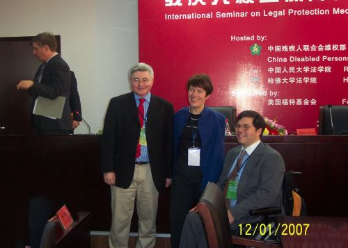 Michael Stein, and Gerard Qiunn posting for photo at International Seminar on Legal Protection Mechanisms for Disabled Persons' Rights and Interests in China.