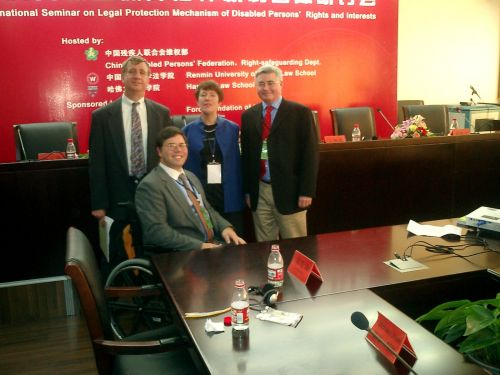 Alford, Stein, and Gerard Qiunn posting for photo at International Seminar on Legal Protection Mechanisms for Disabled Persons' Rights and Interests in China.
